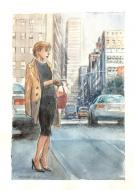 Original comic art by Denis CHETVILLE portrait of SIENNA in a street