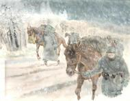 Original illustration horses in winter for Issue Kursk  by DIMITRI