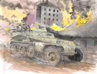 Original illustration of german Halftrack WH13887 for Issue Kursk  by DIMITRI