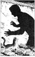 Original illustration for the book : l'ami de l'ogre. Le garçon chat par Michel RIU