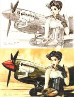 Illustration originale Pin up - pencil and watercolor versions, by Franz Zumstein