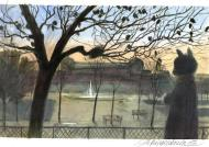 ARINOUCHKINE's original illustration Cat in Paris' parc