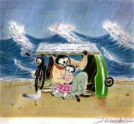 ARINOUCHKINE's original illustration Cat on beach in the rain
