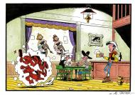 JANVIER's original art for LUCKY LUKE comic series.