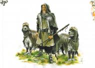 Illustration of Krescias and his dogs Margram and Manok by Mika