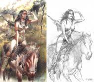 Bande Dessinée : Original cover Indian Horse of Western Corset Collector Issue by GIROD