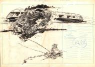 FRANQUIN's original illustration from the Robinsons du Rail