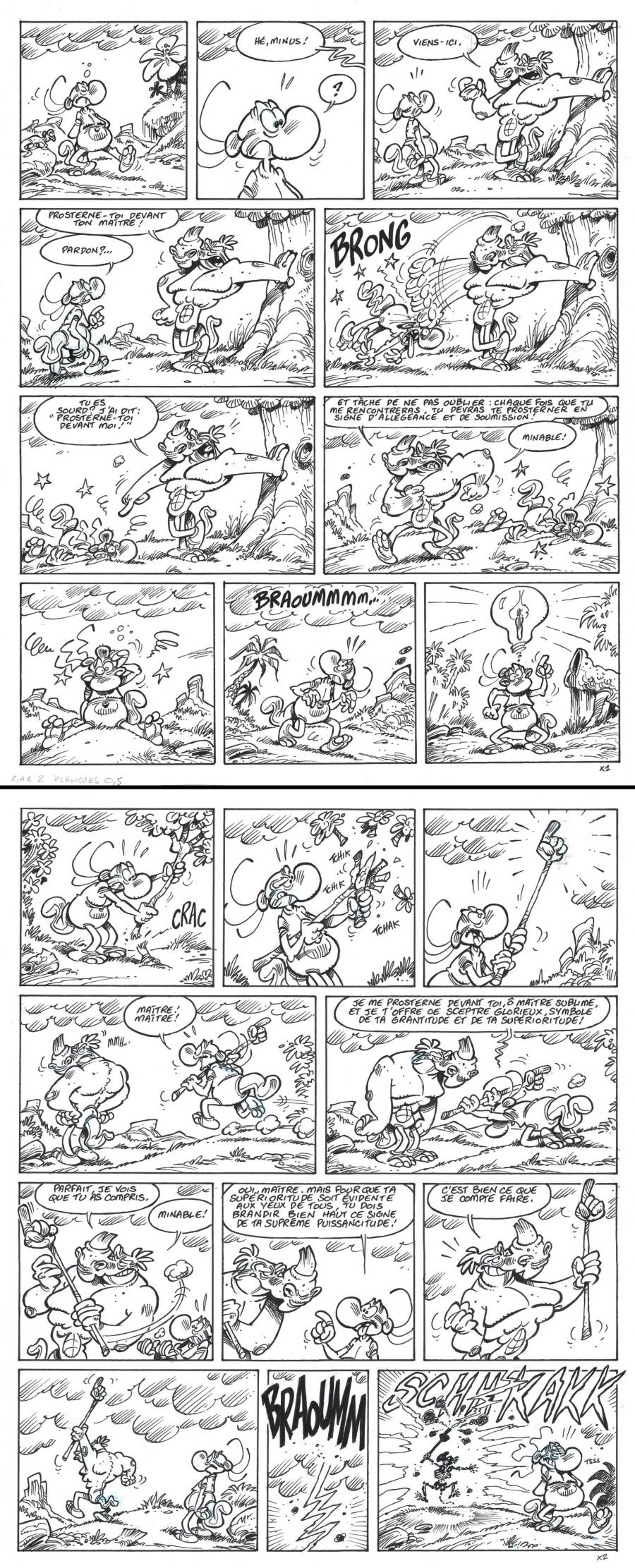 Gag in 2 original comic pages from volume 11 of the Nabuchodinosaure series by Roger WIDENLOCHER